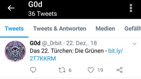 """Unter anderem über den Account """"GOd"""" veröffentlichte der Hacker sensible Daten via Twitter."""