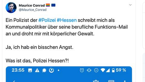 Screenshot eines Tweets des Mainzer Stadtrats Maurice Conrad