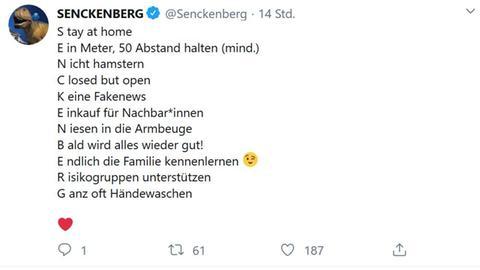 Senckenberg-Tweet zu Corona