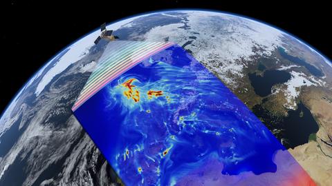 Illustration des Satelliten im Erdorbit