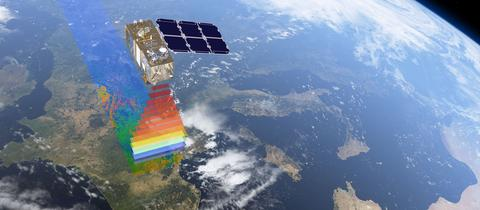 Sentinel-Satellit im All über Europa