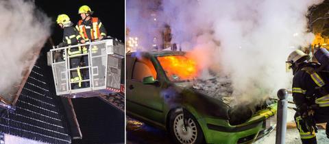 Dachstuhl und Auto in Flammen