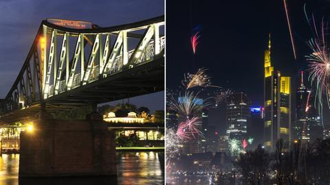 Frankfurt: Eiserner Steg, Skyline mit Feuerwerk