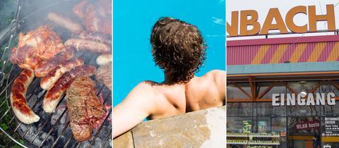 Collage: Grillgut / Schwimmbad / Baumarkt
