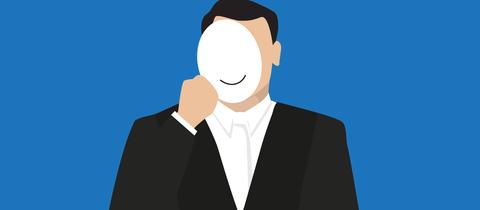 Grafik eines Mannes im Gewand eines Staatsanwaltes, der sich eine Maske vor das Gesicht hält.