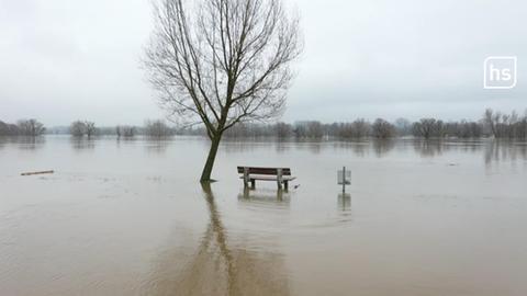 Eine Bank steht an einer überfluteten Stelle.