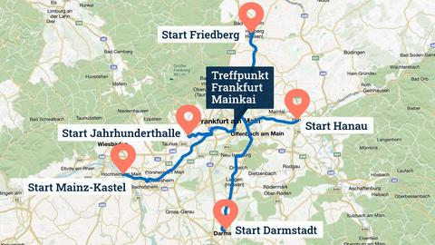 Die Grafik zeigt eine Karte des Rhein-Main-Gebietes, in welche die Verläufe der Wege mit Start- und Zielpunkt eingezeichnet ist.