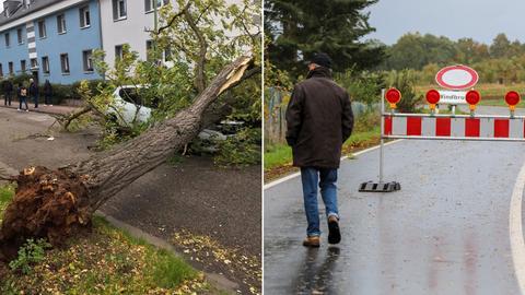 """In Frankfurt Kuhwald hat Sturm """"Ignatz"""" einen Baum auf ein Auto geweht, im osthessischen Lütterz wurde wegen Sturmschäden eine Straße gesperrt."""
