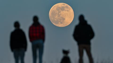 Menschen stehen auf einem Hügel und beobachten den aufgehenden Mond.