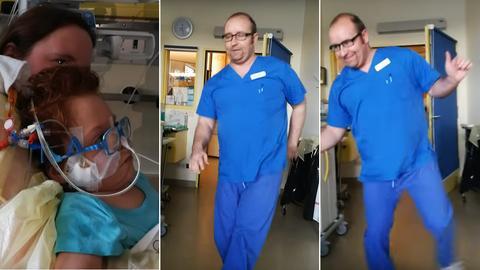 Bildkombo Tanzender Arzt HSK Wiesbaden