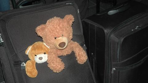Zwei Teddybären an einem Koffer