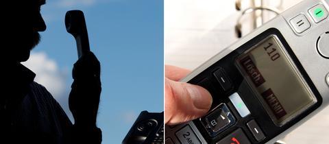 Silhouette eines Mannes mit Telefon sowie ein Telefon mit der 110 im Display