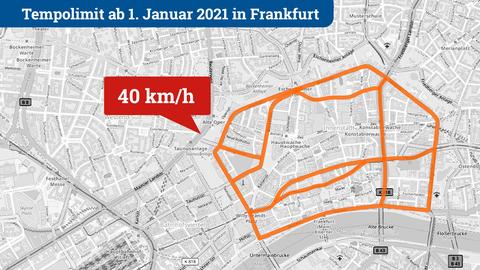 Karte mit den Straßen, auf denen ab 1.1.2021 ein Tempolimit von 40 km/h gelten soll: Hochstraße, Seilerstraße, Bleichstraße, Lange Straße, Mainkai, Braubachstraße, Battonnstraße, Börsenstraße, Junghofstraße, Stiftstraße, Konrad-Adenauer-Straße, Kurt-Schumacher-Straße, Theatertunnel, Berliner Straße.