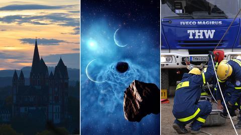 Die drei Bilder zeigen den Dom in Limburg in der Dämmerung, eine 3d-Simulation eines Meteroiten, der durchs All fliegt und den Fuhrparks des Technischen Hilfswerks.