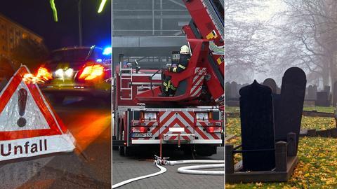 Polizei sichert Unfallstelle / Feuerwehreinsatz in Autohaus