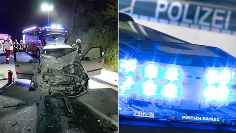 Zerstörtes Auto an Unfallstelle Blaulicht Sujet