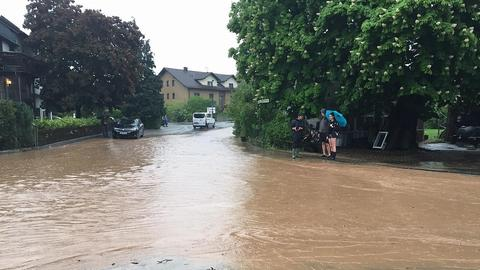In Schlüchtern wurden Straßen überflutet.