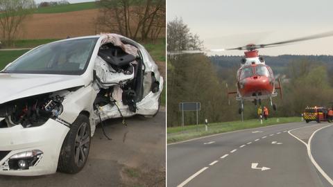 Bildkombo Unfallauto Hubschrauber