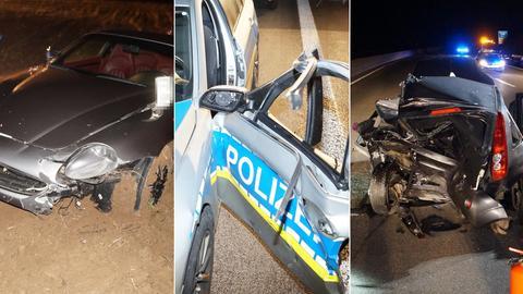 Drei zerstörte Autos