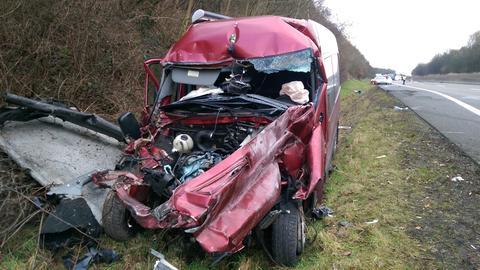 Unfall A7 Kleintransporter Niederaula