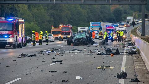 Die Unfallstelle auf der A5 bei Friedberg