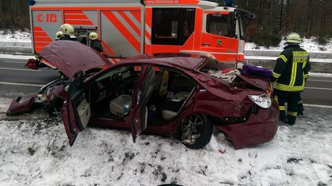 Das Auto schleuderte in den Graben nahe des Kirchheimer Dreiecks