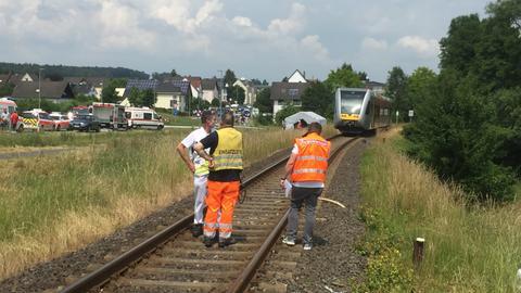 Unfallstelle an der Regionalbahn-Strecke zwischen Elz und Hadamar