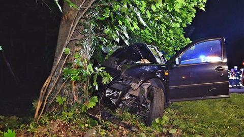 Das beschädigte Auto steht vor dem Baum.