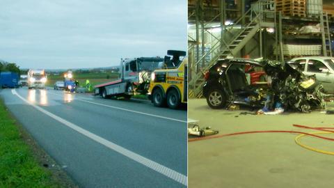Die Unfallstelle auf der B3 und der völlig zerstörte Kleinwagen
