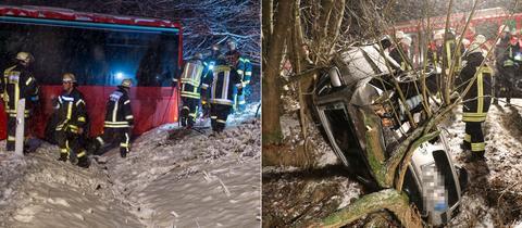 Ein Bus liegt im Graben, ein Auto kracht in mehrere Bäume
