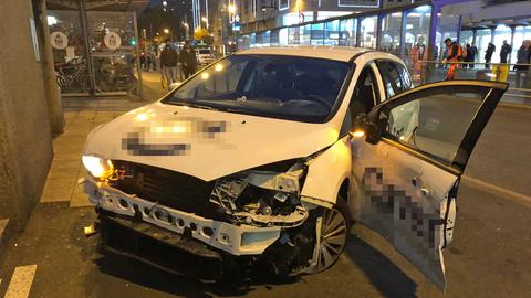 Unfallstelle in der Frankfurter Innenstadt