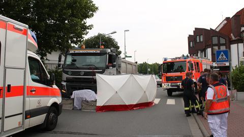 Die abgesperrte Unfallstelle in Gernsheim