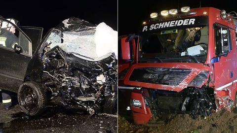 Die Fahrzeuge nach dem tödlichen Zusammenstoß auf der B3