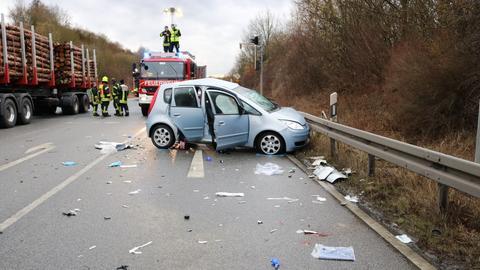 Die Unfallstelle auf der Bundesstraße 426
