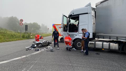 Unfallstelle an der B62 in Niederaula (Hersfeld-Rotenburg)