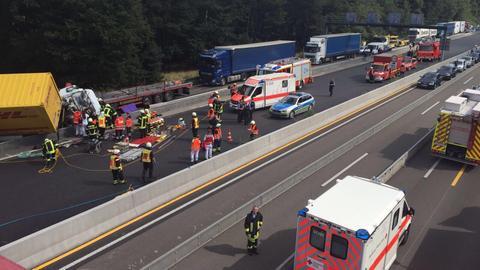 Lkw-Unfall in Baustelle