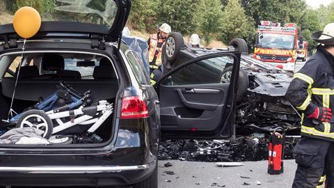 Unfallstelle auf der B456 bei Bad Homburg