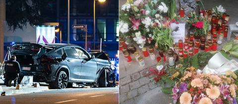 Zwei Menschen kamen bei dem Unfall am Wochenende im Frankfurter Ostend ums Leben - Kerzen und Blumen erinnern an die Getöteten.