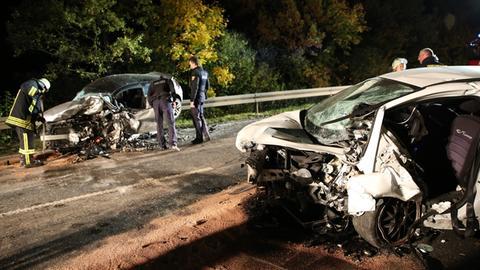 Die Unfallfahrzeuge auf der B455