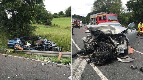 Die beiden Unfall-Autos nach dem Zusammenstoß in Sontra.