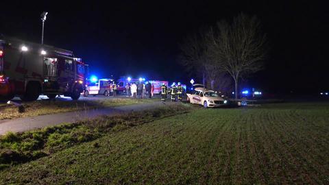 Einsatzkräfte an der Unfallstelle bei Münster