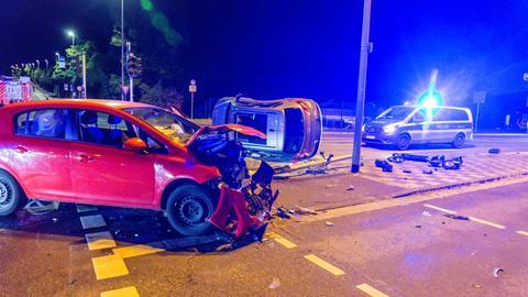 Unfallstelle an Kreuzung in Wiesbaden