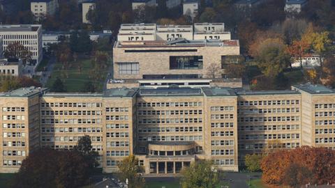 Blick vom Maintower auf den Campus Westend in Frankfurt