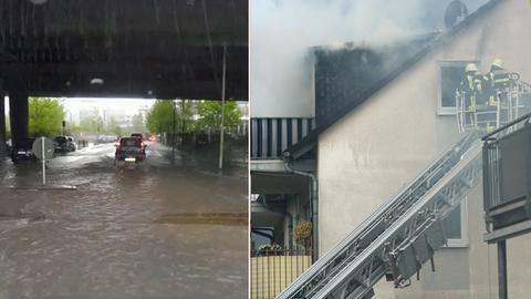 Überflutete Straße in Offenbach, brennender Dachstuhl in Seligenstadt
