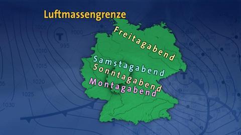 Deutschlandkarte mit der erwarteten Ausbreitung der Kaltfront