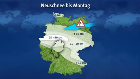Deutschlandkarte mit den erwarteten Schneehöhen bis Montag
