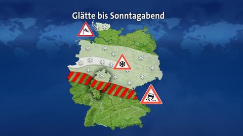 Deutschlandkarte mit der erwarteten Ausbreitung von Glätte