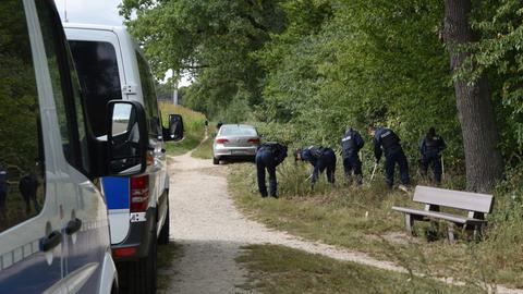 Polizisten suchen im Wald nach Hinweisen.