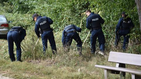 Nach dem Fund von Knochen eines Säuglings durchsuchen Polizisten im September 2017 ein Waldstück nahe Viernheim.