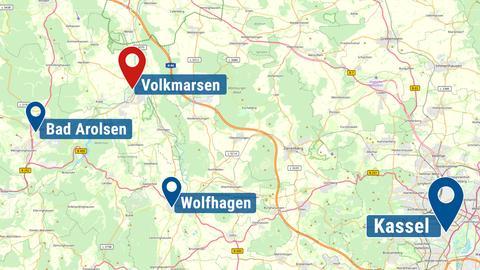 Volkmarsen auf einer Landkarte